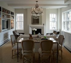 Dining Table Behind Sofa, Transitional, Living Room, B Moore Design