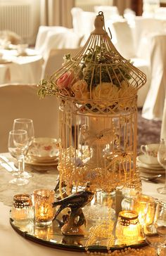 LOVE this idea of using birdcage for centerpiece!