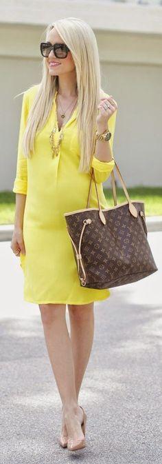 Lemon Yellow Shirt Dress by A spoonful of Style