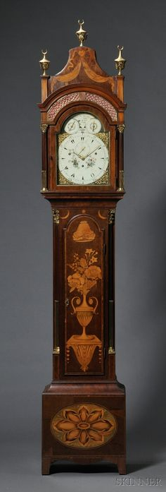 By the French Huguenot emigre Daniel de St. Leu Musical Mahogany Longcase Clock for the Turkish Market, London, c. 1790, the pagoda top case with marquetry inlay throughout, brass sound vents backed by fabric in the hood, brass stop-fluted columns flanking the composite brass and painted dial signed in the arch Dan(l). de St. Leu./Watch Maker/To Her Majesty/London, two subsidiary dials, object left for the four-tune selection all marked Morisea Aria,