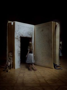 This picture is an interpretation of the wonder tale Alice in Wonderland. I enjoy this picture because it appears as if Alice is about to literally step into the book. Digital Foto, Creepy Photos, Stage Design, Set Design, Theatre Design, Conte, Photo Manipulation, Manipulation Photography, Fantasy Art
