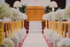 2014 Feb, my wedding ceremony church decor..  Lemon, baby's breathe, winter wedding, church wedding, Toronto wedding, yellow, grey, mint