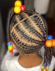 Kids Cornrow Hairstyles, Toddler Braided Hairstyles, Natural Hairstyles For Kids, Little Black Girls Braids, Black Little Girl Hairstyles, Black Girl Braids, Kid Braid Styles, Kid Styles, Lemonade Braids For Kids
