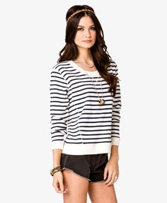 Striped French Terry Pullover   FOREVER21 - 2020642282