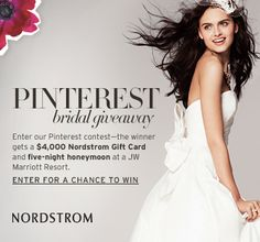 #Nordstrom #Weddings is hosting a Pinterest giveaway! Click through to learn more, enter, and pin to win!