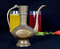 Extreme Antique Indian Mogul Hand Crafted Work On Brass Surai/Wine Pot. G7-731 #Antique