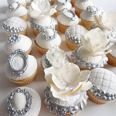 Beautiful Wedding Cupcakes & Cookies - Leyara Cakes. Brooch Mould - Karen Davies Sugarcraft.