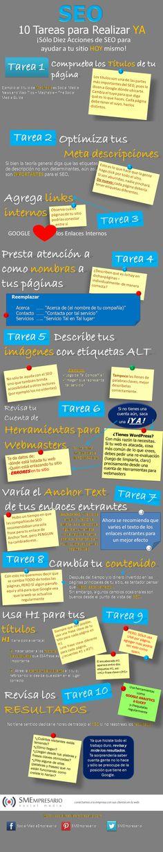 10 acciones para SEO!!  http://www.posicionamientoeficaz.com/blog2/wp-content/uploads/10-Acciones-de-SEO-que-deber%C3%ADas-estar-haciendo-YA-MISMO.png