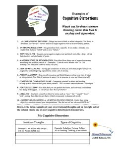 out for those cognitive distortions! For more free mental health handouts, visit Belmont WellnessWatch out for those cognitive distortions! For more free mental health handouts, visit Belmont Wellness Counseling Worksheets, Counseling Activities, School Counseling, Self Esteem Worksheets, Cbt Worksheets, Leadership Activities, Group Counseling, School Worksheets, Printable Worksheets