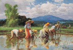 """Fernando Amorsolo y Cueto, Filipino painter, was an important influence on contemporary Filipino art and artists, even beyond the so-called """"Amorsolo school"""". Subjects: Philippine Genre, historical and society Portraits. Abstract Painters, Abstract Canvas Art, Oil On Canvas, Filipino Art, Filipino Culture, Landscape Art, Landscape Paintings, Farm Paintings, Philippine Art"""