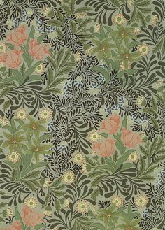 WILLIAM MORRIS DESIGN The colours are all quite neutral and plain which makes the design seem a bit boring and old-fashioned. The only colour which does stand out is the pink. A lot of the elements of the design are repeated, such as the pattern and shapes. He uses lines cleverly on the flowers to give them depth and a 3-D feel. Most of the other lines and shapes are very curvy.