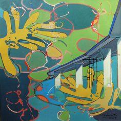 Ignacio Klindworth. Estructura sobre la #charca. Óleo sobre tela 90x90cm. Madrid-Guadalajara 2007. www.ignacioklindworth.es