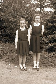 The Twomey Sisters of Church St., Ennistymon pictured outside Ennistymon Convent National School. Ireland Pictures, National School, Daughters, The Outsiders, Sisters, Vintage, Style, Fashion, Relationships