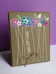handmade birthday card by I'm in Haven ... kraft base ... white embossed sentiment and long stemmed flowers ... Prismacolor pencils for color ... great look ... fabulous card!!
