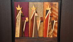 """Los Tres Reyes Magos. Artesanía creada con la técnica de """"intarsia."""" Foto: Pamy Rojas"""