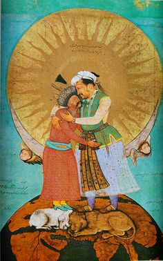 """Abu'l Hasan 1618 """"Jahangir's Dream of embracing Shah 'Abbas"""" --Jahangir, on the right, hugs Shah Abbas, the Safavid ruler of the Persian empire. They stand on top of the world, on the backs of a lion and a lamb. A lion and a lamb together represents peace and harmony. This image suggests that the two rulers are at peace with one another. It also suggests, due to the submissive posture of Shah Abbas, that Jahangir, the Mughal Indian emperor, is in charge here. Shah 'Abbas is secondary"""