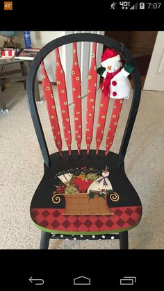 Shara Reiner chair painted by Sandra Goodrich Weird Furniture, Funky Painted Furniture, Paint Furniture, Furniture Ideas, Christmas Chair, Christmas Art, Chair Makeover, Furniture Makeover, Tole Painting
