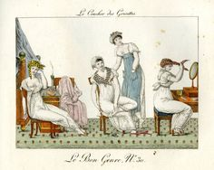 Plate 30: the four elegant women of plate 29 getting undressed at the end of the day. 1802-12 Hand-coloured etching
