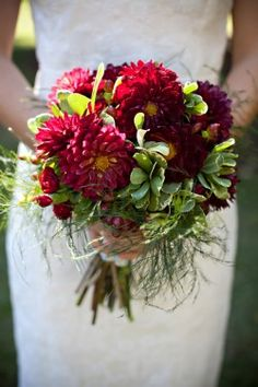Burgundy-Dahlia-Bouquet change color and reduce size Bridal Bouquet Fall, Fall Bouquets, Fall Wedding Bouquets, Bridal Flowers, Burgundy Flowers, Dahlia Bouquet, Mum Bouquet, Flowers In Jars, Wedding