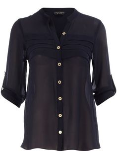 Navy pleated front blouse