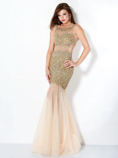 long prom dress 2013 Gold Jovani mermaid beaded long gown with tulle and a sexy open back. A perfect unique dress for Quinceanera or sweet sixteen. Style, 171100
