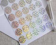 1 silver hologram sticker triangle sticker vinyl label by papirea