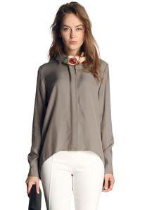 #AdoreWe #VIPme Blouses & Shirts - SAINTY Light Coffee Plain Long Sleeve Casual Shirt - AdoreWe.com