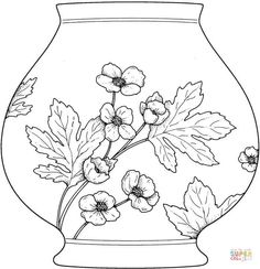Vase Coloring page Flower Coloring Pages, Mandala Coloring Pages, Colouring Pages, Letter V Crafts, Chinese Crafts, Quilling Patterns, Mexican Folk Art, Free Printable Coloring Pages, Art And Architecture