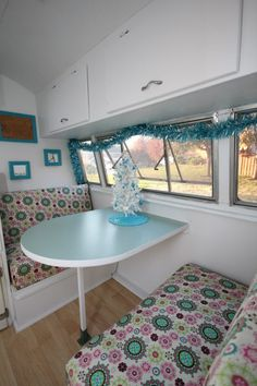 Vintage 1957 Shasta camper  love the colors and window treatments. great idea.