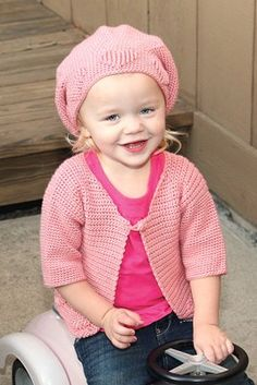 Kid's Heart Cardi & Hat - (sizes 6mths to 2 yrs - free instructions)