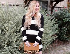 Welcome December  Striped sweater// Leopard