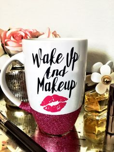 Glitter Mug Wake up and Makeup Personalized Mug Funny Coffee Mug Coffee Lovers Gift Glitter Dipped mug Latte Mug Ceramic mug by SipSoSweet on Etsy Cute Coffee Mugs, My Coffee, Coffee Cups, White Coffee, Morning Coffee, Coffee Maker, Diy Becher, Coffee Lover Gifts, Coffee Lovers