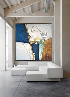 Large Wall Canvas, Abstract Canvas Wall Art, Blue Abstract Painting, Your Paintings, Beautiful Paintings, Star Painting, Decoration Plante, Office Wall Art, Minimalist Art