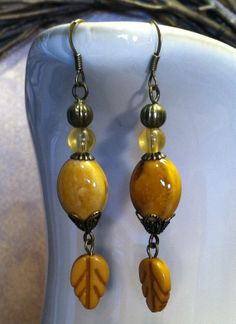 Yellow Porcelain Drop Earrings With Yellow Glass by SmockandStone, $13.00