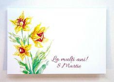 Felicitare 8 Martie - Narcise, Felicitare format C6 cu plic alb Martie, Ebay