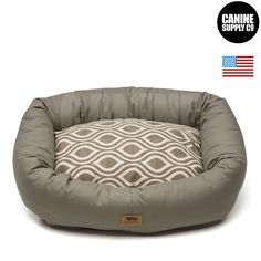 Bumper Bed with Brushed Cotton + Walnut Groove Pattern Dog Beds - All Sizes