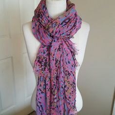 "Lightweight scarf Lightweight and oversized scarf. Pink background with an almost animal print pattern in mostly black and blue, some orange, green and yellow.  80"" by 40"" Accessories Scarves & Wraps"