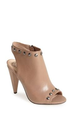Free shipping and returns on Vince Camuto 'Abbia' Leather Open Toe Sandal (Women) at Nordstrom.com. Soft nappa leather punctuated by starburst studs along the collar and vamp top this sleek sandal that's finished with a wrapped, architectural heel, lightly padded footbed and flexible sole.