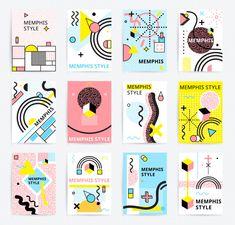 Memphis Style Posters Set vector image on VectorStock Graphic Design Posters, Graphic Design Inspiration, Kids Graphic Design, Web Design, Layout Design, Vector Design, Pop Art Fotos, Posters Conception Graphique, Prospectus