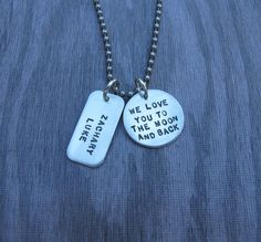 Hand Stamped Jewelry I Love You To The Moon and back necklace just for him, Father's Day gift idea