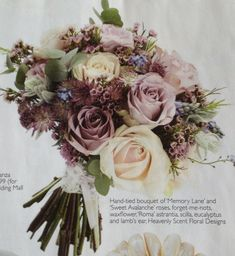 This is pretty much my ideal bouquet - muted pink and mauve, ivory, a hint of light blue, grey foliage, not too much green - maybe a few more flowers though :o)