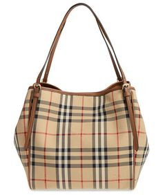 Small canter horseferry check & leather tote by Burberry. A Burberry knight is subtly embossed over the iconic checks of this sized-down tote that's the perfect size for carry...