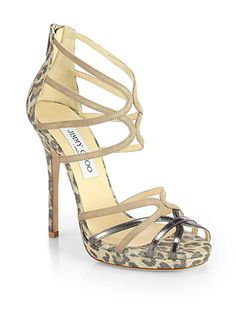 Jimmy Choo Fierce Florida Leopard-Print Metallic Suede Sandals €780 Spring Summer 2014 #Shoes #Heels
