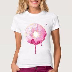 Women Fashion T-shirts Pink Doughnut Printed T Shirts Short Sleeve Tee TShirt Top