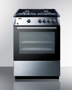 """PRO24G in  by Summit in Manhattan, NY - 24"""" Wide 'slide-in' Look Gas Range With Sealed Burners, Waist-high Broiler, Stainless Steel Finishing, Storage Compartment, and Black Cabinet and Surface"""