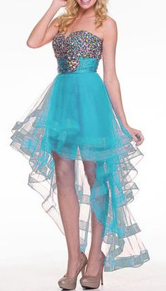Sparkly Turquoise High Low Homecoming Dress Sweetheart Remove Skirt (3 Colors Available)