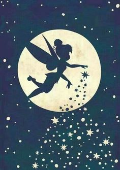 Disney Fairy, Tinkerbell, sprinkling her pixie dust as she flies past the moon and the stars Hades Disney, Disney Amor, Disney Love, Disney Magic, Disney Fairies, Tinkerbell Disney, Tinkerbell Drawing, Tinkerbell Pumpkin, Tinkerbell Quotes