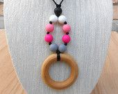 Pink & Black Silicone Maple Wood Teething Necklace :) Handmade and ready to ship!