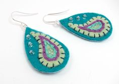 Felt Paisley Earrings in Turquoise and Celadon by aimeere on Etsy