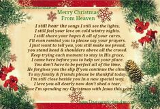Merry Christmas From Heaven christmas christmas quotes christmas quotes for family christmas quotes about losing loved ones christmas in heaven quotes christmas in memory quotes